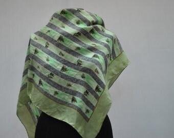 Vintage SILK scarf , hand rolled , ....