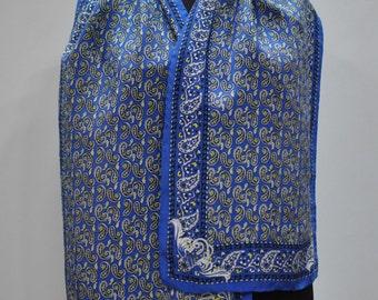 Vintage SILK scarf , hand rolled scarf..(629)