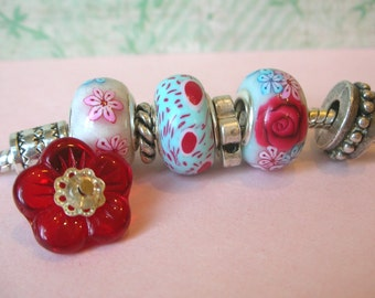 Handmade polymer clay 3 beads fits Troll Bead, Biagi, Chamilia and other European Big Hole Bead Bracelets -(p-363)