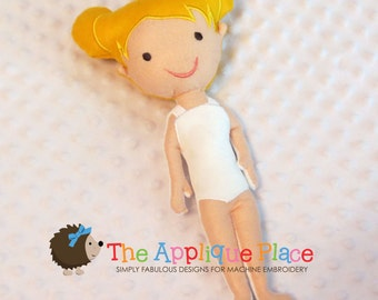Diana Doll * Stuffed Cloth doll * In The Hoop * ITH Machine Embroidery Pattern / Design with Tutorial