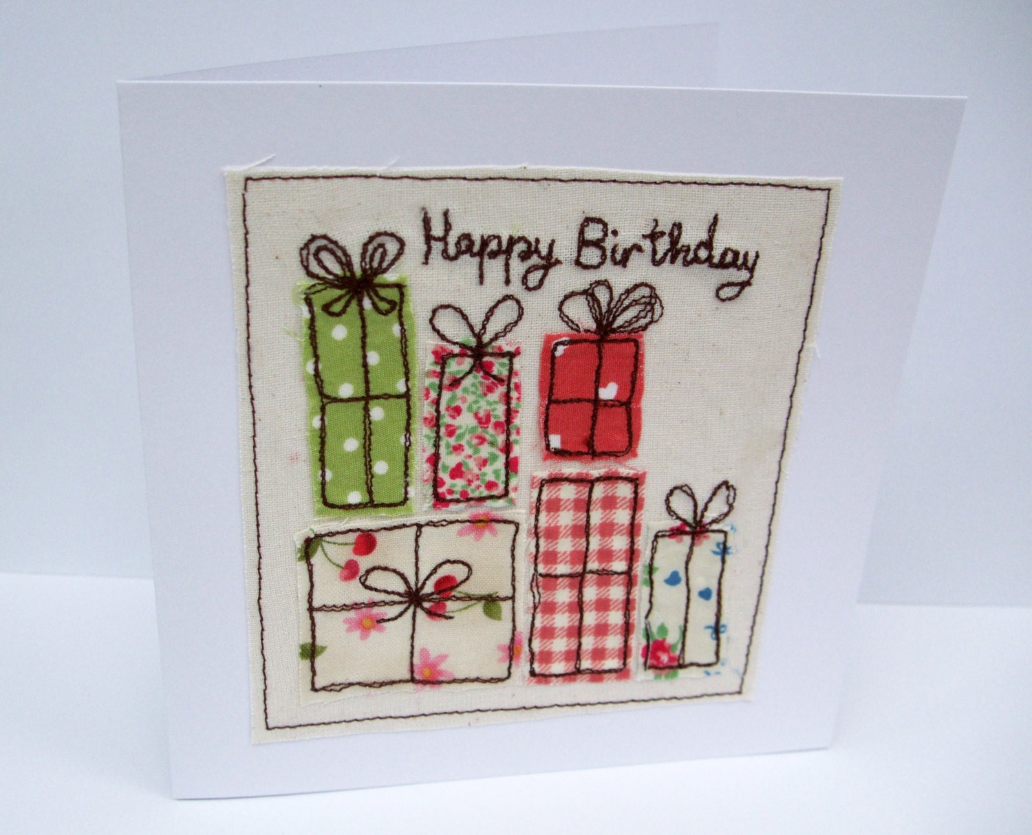 Birthday card machine embroidered presents