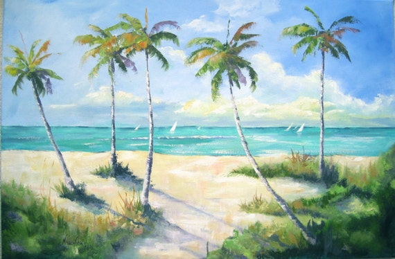 Painting seascape sailboats palm trees beach and ocean for Painting palm trees