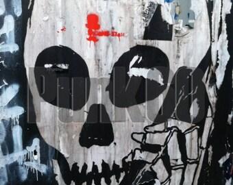 Urban Street Art Photograph Graffiti Skull on the Phone Print Photography from New York City Urban NYC
