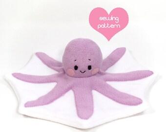 "PDF sewing pattern - Octopus stuffed animal - easy DIY kawaii plushie softie plush toy 14"""