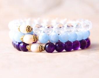 Mala Bracelet Stack, Yoga Bead Bracelet Gift Set, Buddhist Jewelry, Wrist Mala Beads, Quartz Crystal, Aquamarine, Amethyst, Freshwater Pearl