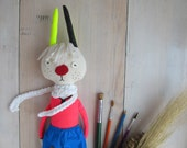 Neon red shirt bunny - Hand painted linen rabbit - Handmade fabric doll - Stuffed art textile hare
