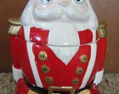Large Vintage Gibson Ceramic Santa, Toy Soldier, Nutcracker Cookie Jar, Christmas Kitchen, Holiday  Decoration, 1990's, Festive, Fun, Bright