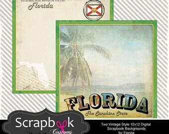 Florida Digital Scrapbook Paper. Vintage. Instant Download.
