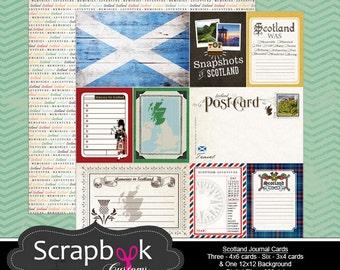 Scotland Journal Cards. Digital Scrapbooking. Project Life. Instant Download.
