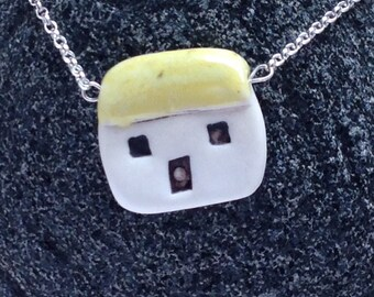 Porcelain and silver house necklace