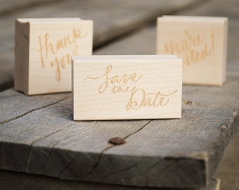 Your Choice of 3 Rubber Stamps Set, 3 [Stock or Custom] Stamps. Save the Dates or Wedding Invitations, Envelope Stationery.