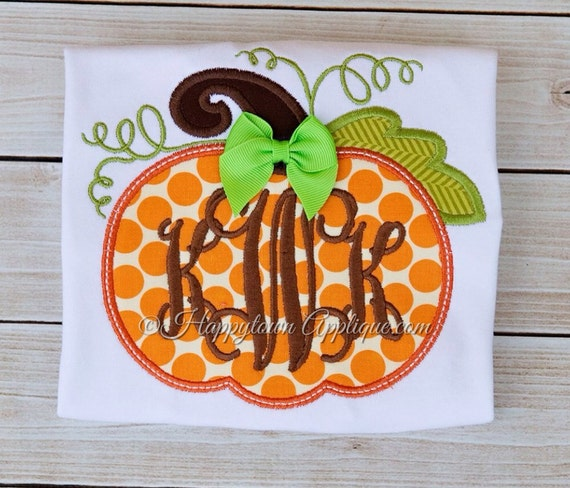 Pumpkin appliqué machine embroidery design by
