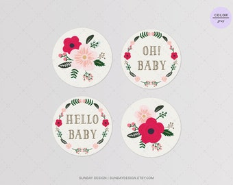 INSTANT DOWNLOAD / Love Sakura Baby Shower Cupcake Toppers - Gray - DIY Printable Floral