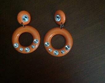 Vintage Orange Earrings With Rhinestones