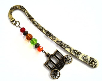 Carriage Charm Bookmark, Elegant Carriage Metal Bookmark with Crystal Beads, Anitque Bronze Horse and Carriage Unique Book Jewelry
