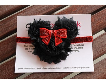 Red Glitter Minnie Shabby Handmade Headband for Newborn, Baby, Toddlers, Girls & Adults