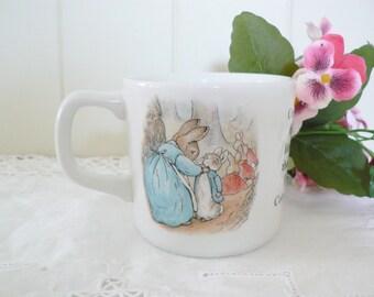 Beatrix Potter vintage 1990's Peter Rabbit mug, Wedgwood, Rabbit mug, Baby gift, Baby keepsake, Wedgwood mug, Flopsy bunnies, Newborn