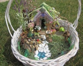 Fairy Garden, Accessories kit, Swing, Bell, Seashell w Fairy Dust, Decorative Lamps, Hummingbird Feeder, Plant, Pond, 8 items handmade