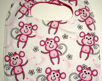Baby Girl Bib - Reversible Super Absorbent Triple Layer - READY TO SHIP - Minky Baby Girl Bib - Monkey Bib - Minky Bibs - Baby Girl Bibs