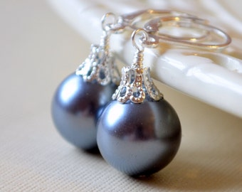 Charcoal Grey Earrings, Large Glass Pearls, Christmas Balls, Silver Plated Lever Earwires, Fun Holiday Jewelry