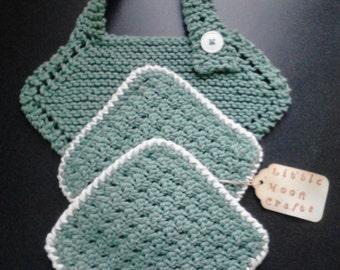 Green Baby Bib and Washcloth Set, Toddler Bib, Baby Bib, Baby Layette, Baby Washcloths, Baby Gift Set, Baby Shower Gift