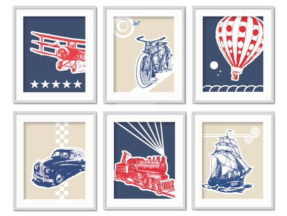 Items Similar To Children 39 S Wall Art Boys Bedroom Prints Car Plane Train Sailing Boat