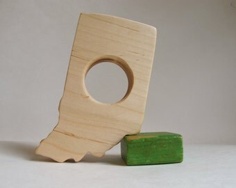 Wood Toy -  Indiana State Teether - organic, safe and natural for baby