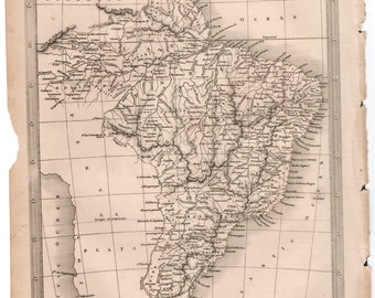 1843 Vintage Map of Brazil #00140