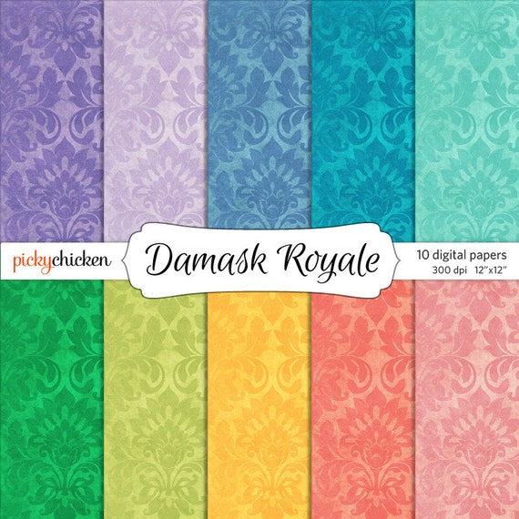 Damask Digital Paper Purple Mint Coral Teal Pink Turquoise