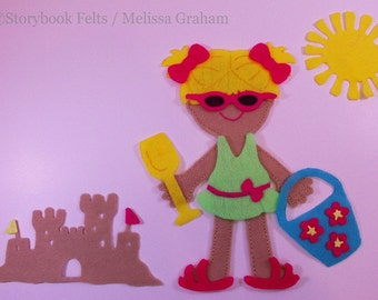 SHOP CLOSING SALE - Felt Doll Outfit Fun In The Sun Felt Girl Doll Dress Up Set Without Doll