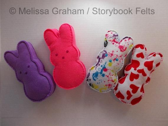 Jumbo Felt Easter Peep Bunny In Glitter Prints Or Solid Colors