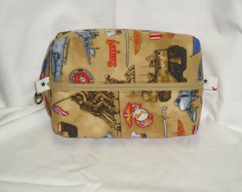 Marines Military Boxy Knitting or Crochet Project Bag, Cosmetic Pouch, Ditty bag, Large boxy bag, Shaving Kit Toiletry Bag, Diaper bag pouch