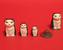 Thimble Cat Russian Doll Hand Painted Pewter Collectors Thimble