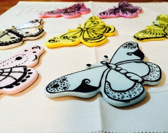 7 Hand Painted Porcelain Ornamental Butterflies