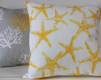 Reversible poly filled coastal ,starfish and nautical pillow in various sizes