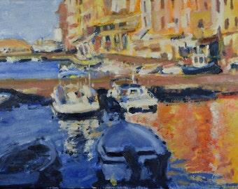 Original Oil Painting, Portovenere,  Italy, Boats, Harbor by Robert Lafond