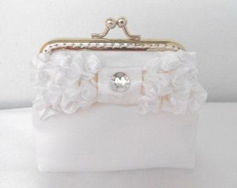 White Satin Purse, Wedding Bridesmaid Small White Clutch with Kisslock