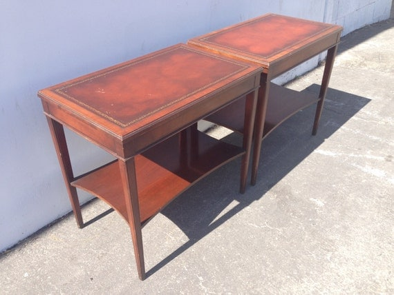 Antique Mahogany Leather Top Side Tables Nightstand French