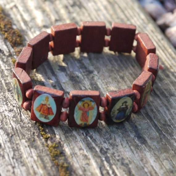 vintage religious charm wooden bracelet