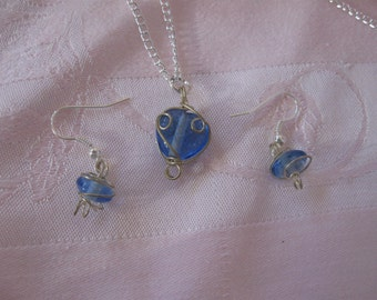 Wire Wrapped Blue Glass Earrings, Necklace  Set