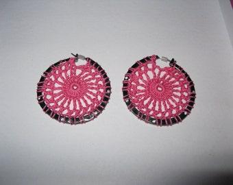 Pink Crochet Hoop Earrings