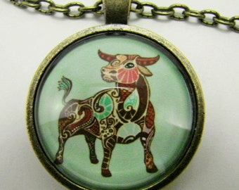 TAURUS ZODIAC Necklace  Gaudi art style Taurus necklace for him or her Taurus the Bull