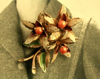 Vintage Flowers Bouquet Brooch