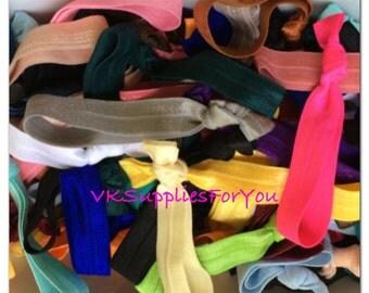 100 pc -rainbow colors - Hair Ties- Ponytail Holders- Fold Over Elastic- Hair Ties-