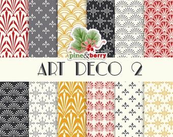 "Art Deco 2 Digital Paper Pack ""Art Deco"" 12 Digital Papers In Art Deco Pattern For Digital Print Crafts Cards Invites Scrapbook"