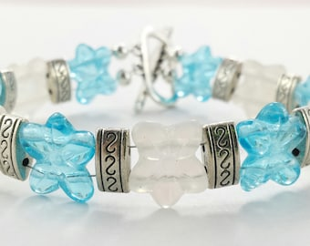 Blue and White Flower Bracelet
