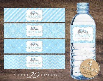 Instant Download Blue Elephant Water Bottle Labels, Printable Baby Shower Wraparounds, Boy Baby Shower Water Bottle Labels, It's a Boy 22C