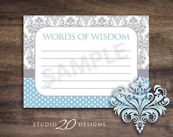 Instant Download Blue Damask Advice Cards, Baby Shower Games for Boy, Blue Damask Words of Wisdom, Printable Advice Cards #51B