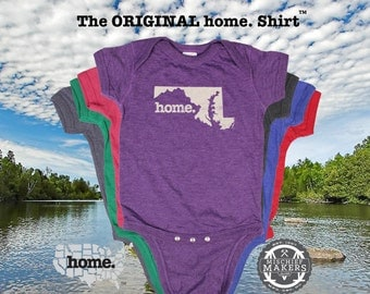 Maryland home Baby Bodysuit purple green pink blue green
