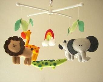 """Baby crib mobile, safari mobile, animal mobile, felt mobile """"Let's go to the Zoo 5"""" - Elephant, Lion, Giraffe, Zebra, Alligator"""